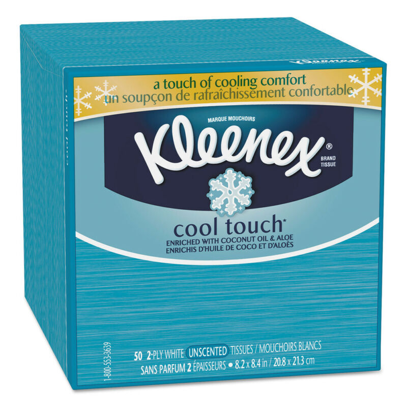 Kimberly-Clark Cool Touch Facial Tissue, 2-Ply, 50 Sheets Per Box, 27/carton  29