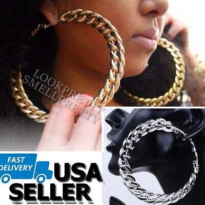 Large Cuban Link Chain Hoop Earrings Gold Silver Hip Hop 3.5 Inch Cardi