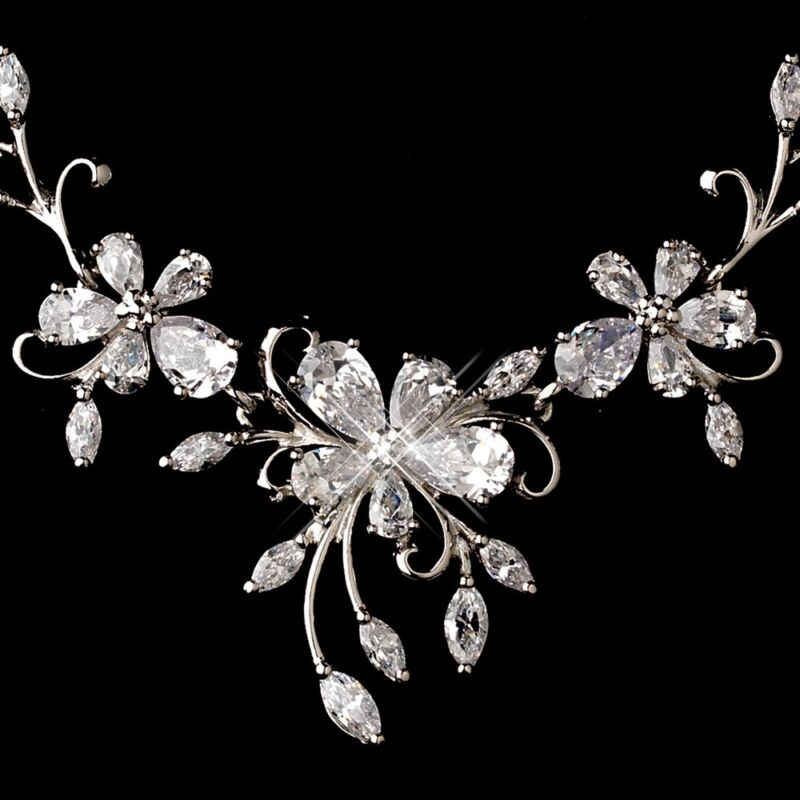 CZ Wedding Necklace & Earring Bridal Set  Silver Floral Design w/ Cubic Zirconia