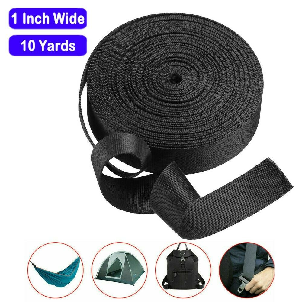 Black Nylon Heavy Duty Webbing Strap For Belt Bag Hammock 1