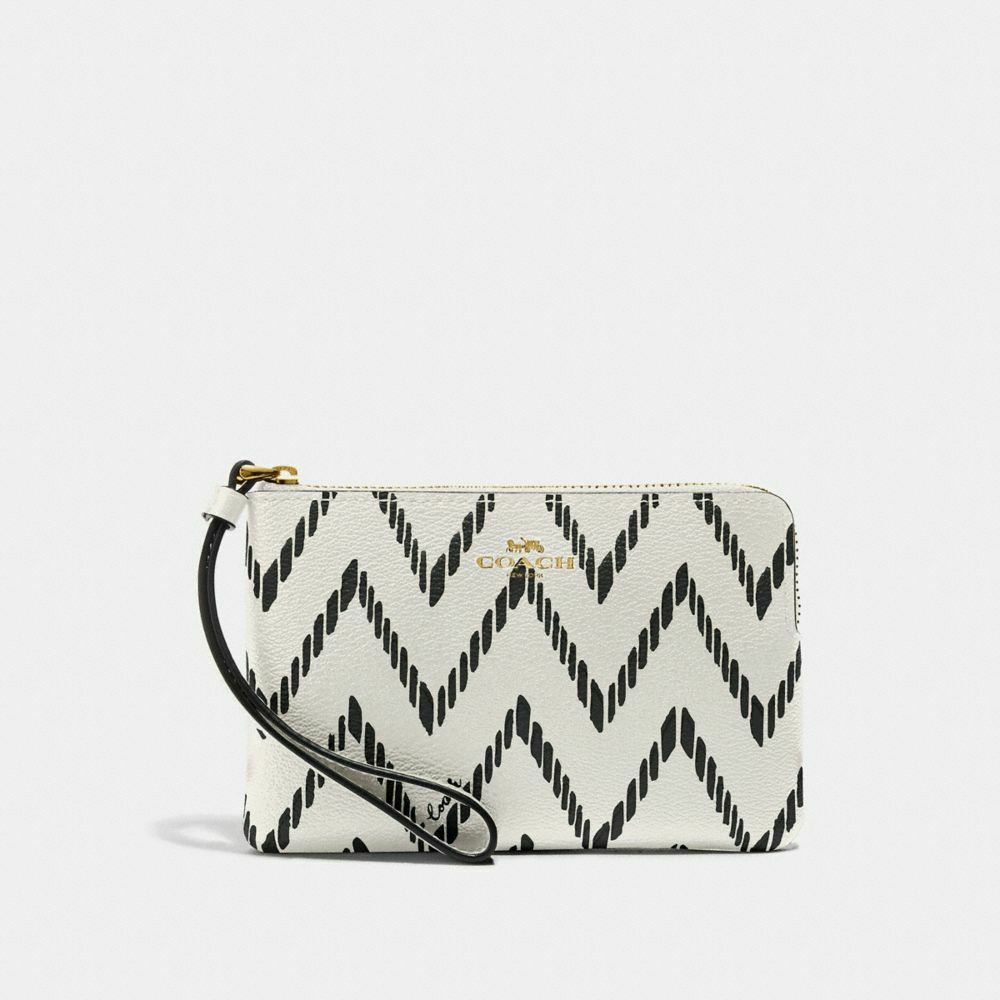 New Coach F58032 F58035 Corner Zip Wristlet With Gift Box New With Tags Chalk Black Chevron Print