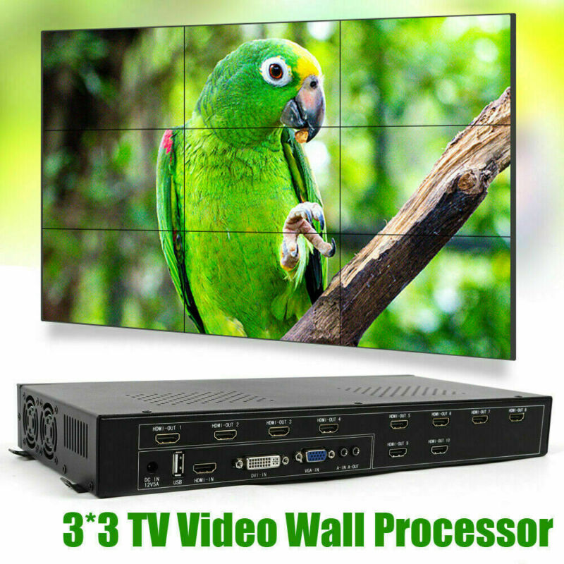 DC12V-3A 9 Channel TV Video Wall Controller 3x3 2x4 HDMI DVI VGA Video Processor