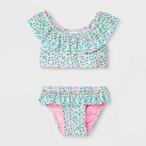 Cat & Jack Baby Girls Multicolor Burst Ruffle Bikini 2 Piece Swim Set 12 Months