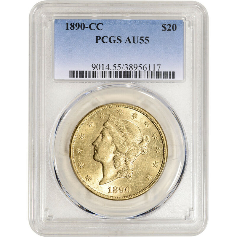1890-CC US Gold $20 Liberty Head Double Eagle - PCGS AU55