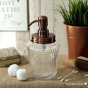 Vintage Kilner Mason Jar Soap Dispenser with Solid Copper Lid & Copper Pump