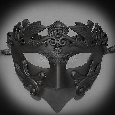 Men Egyptian Greek Venetian Masquerade Mask - Roman Warrior - Black