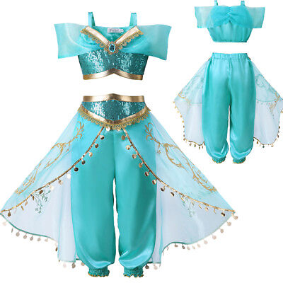 Girls Aladdin Costume Princess Jasmine Outfit  Sequin Party Fancy Dress Cosplay