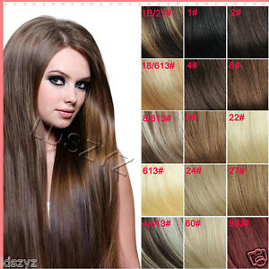 Full-Head-Set-14-30-Clip-in-Remy-Human-Hair-Extensions-Any-Black-Blonde-Brown