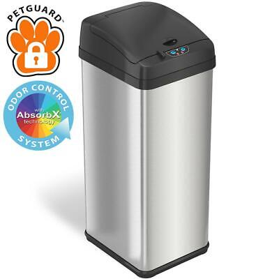 iTouchless 13 Gal. Pet-Proof Big Lid Opening Stainless Steel Sensor Trash Can
