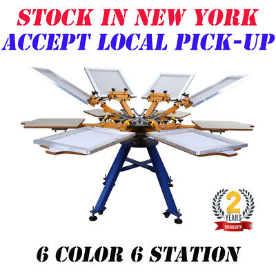 Ny 6 Color 6 Station Silk Screen Printing Machine T-shirt Press Printer Carouse