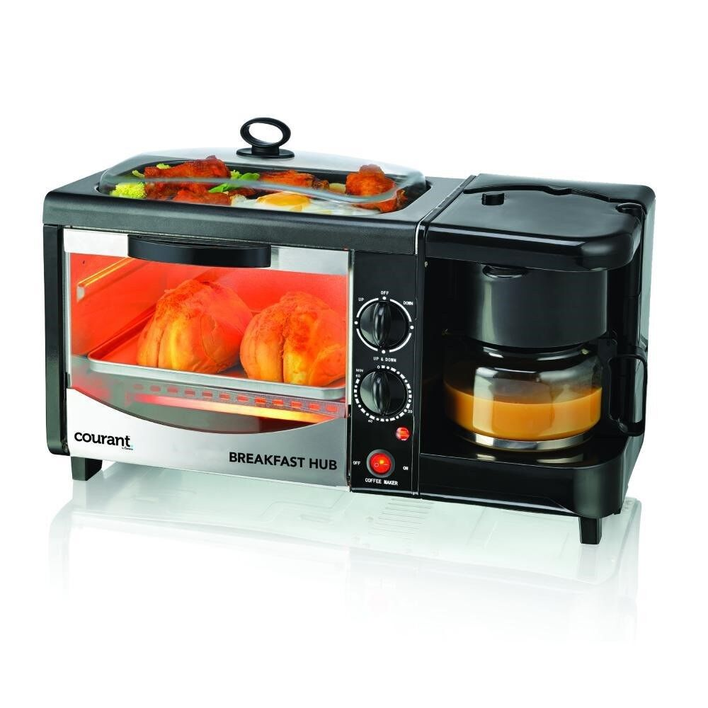 Courant Toaster Oven 3 in 1 Breakfast Center Black Removable Water Tank Tray New