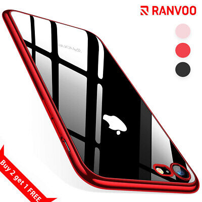 For Apple iPhone SE 2020 Clear Case Red Transparent Silicone Gel Soft Skin Cover