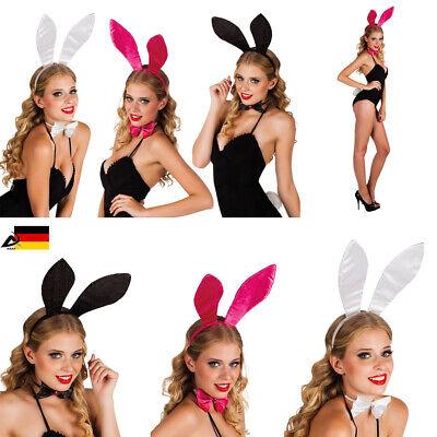 Sexy Glitzer Bunny Ohren Haarreif Fliege Schwanz Oster Hasenohr Kostüm Fasching - Schwarze Hasenohren Kostüm