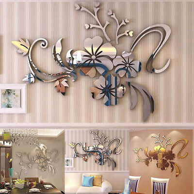 - 3D Mirror Floral Art Removable Wall Sticker Acrylic Mural Decal Home Room Decor