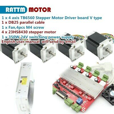 Cnc Kit 4 Axis Nema23 Stepper Motor 270oz-in 3a Driver Board Tb6560 Power Supply