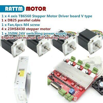 Cnc Kit 4 Axis Nema23 Stepper Motor 270oz-in 3a Driver Board Tb6560 Power Supply