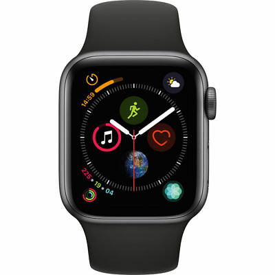 NEW APPLE WATCH SERIES 4 40MM SPACE GRAY ALUMINUM CASE BLACK SPORTS BAND GPS