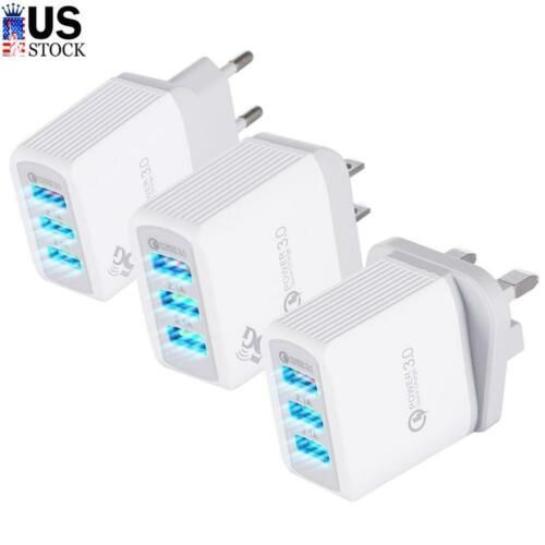 QC 3.0 3-Port USB 3A Fast Charging Hub Wall Charger Portable USB Adapter US Plug - $5.49