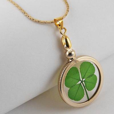 Four Leaf Clover Gold Charm Necklace with a Real 4 Leaf Clover GN-4J Gold Four Leaf Clover Necklace
