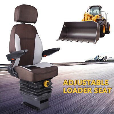 Tractor Seat W Suspension And Armrest Dozer Seat Tractor Skid Steer Us Shipping