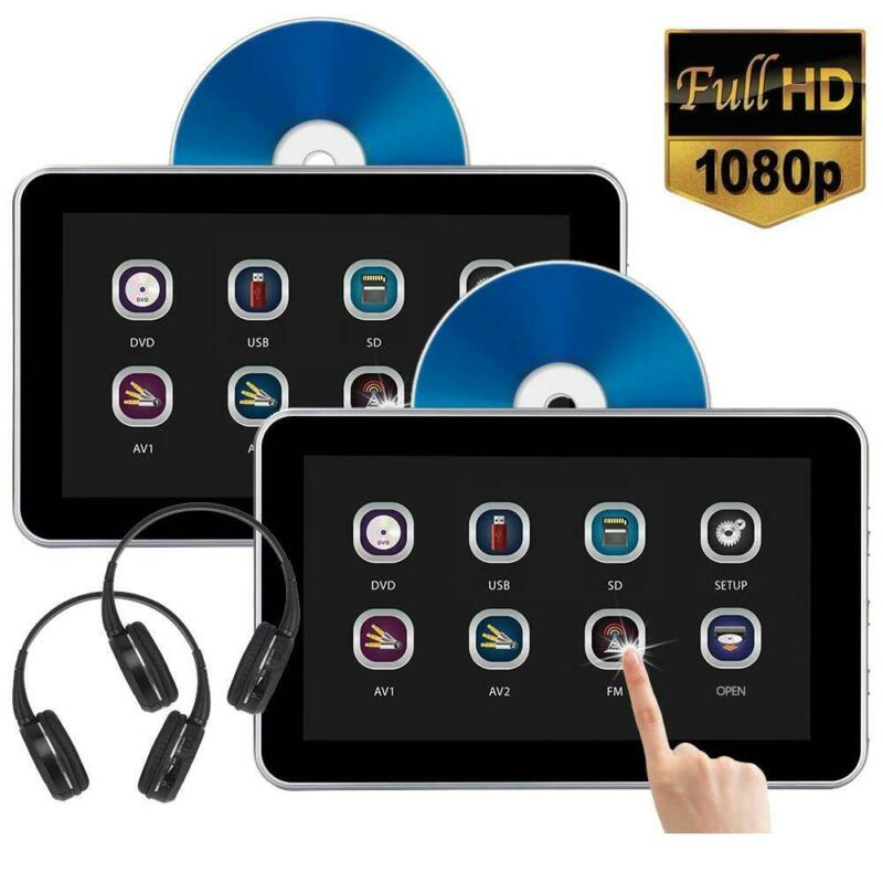 "(Pair) 10.1"" Headrest DVD Player with Touch Screen 1080P USB SD FREE HEADPHONES"