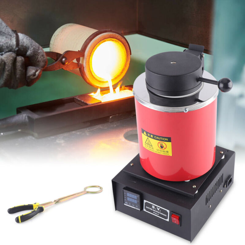 3KG Electric Metal Melting Furnace Melter Gold Silver Copper Aluminum W/ Clamp