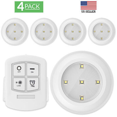 Sunco Lighting 4 Pack LED 4000K Puck Light with Remote Contr