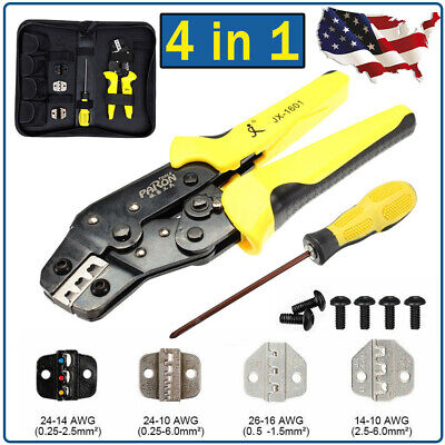 Insulated Cable Ratcheting Wire Terminal Crimpers Crimping Pliers Tool Set Kit
