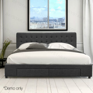 Premium Linen Fabric Sturdy Bed Frame with Storage Drawers