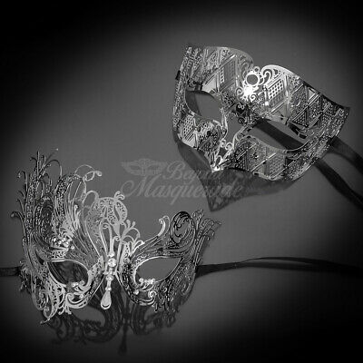 His and Hers Couple Masquerade Metal Mask Silver Theme - Masquerade Theme