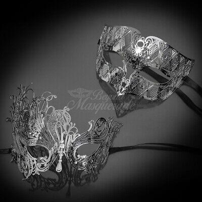 Masquerade Theme (His and Hers Couple Masquerade Metal Mask Silver Theme)