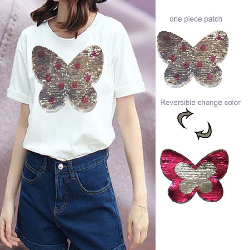 Schmetterling Reversible Pailletten Patch für Kleidung gestickte Applikation w*e