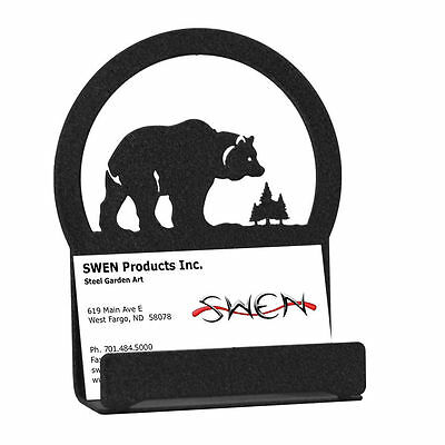 Swen Products Bear Black Metal Business Card Holder