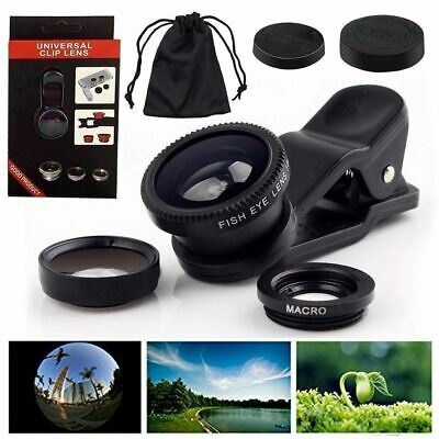 Universal 3in1 Wide Angle+Fish Eye+Macro Clip On Camera Lens Kit For Smart Phone