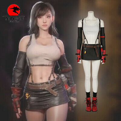 Final Fantasy VII Cosplay Remake Tifa Lockha Costume Halloween Clothes Customize - Final Fantasy Halloween Costumes