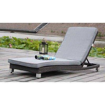 adjustable rattan lounge chair with cushions outdoor lounger gray wicker - Chaise Outdoor Lounge Chairs