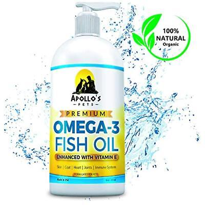 Omega 3 Fish Oil For Dog with Natural Vitamin E Treats Shedding, Itchy Skin 16oz