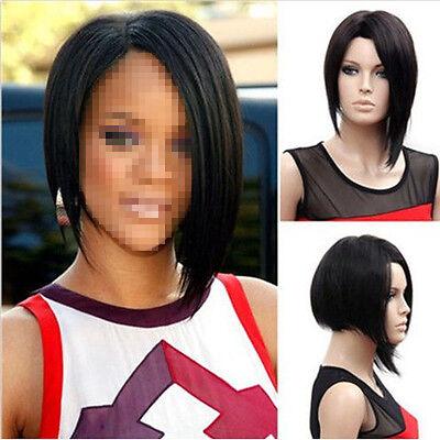 Women Black Bob Hair Wig Short Straight Crazy Party Full Wigs Ladies Cosplay US Black Straight Cosplay Wig