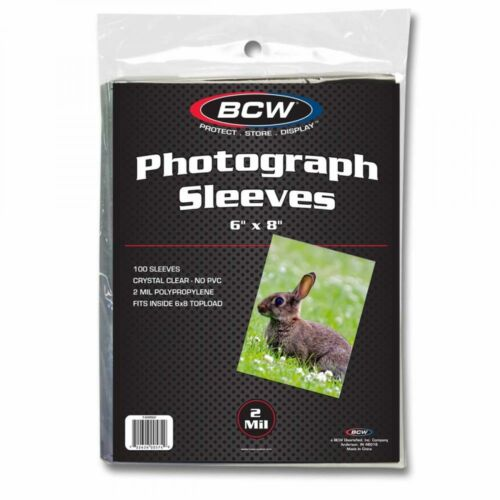 1 Pack 100 BCW 6x8 Photo Soft Poly Sleeves Acid Free Print Holder Archival