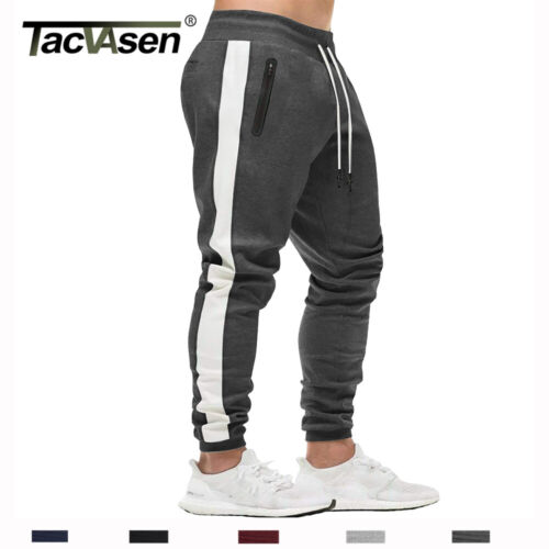Mens Sports Running Pants Stripe Athletic Fitness Sweatpants Gym Jogger Trousers