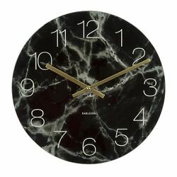 Karlsson Marble Glass Wall & Floor Clock Black Small Unique Art Modern Home