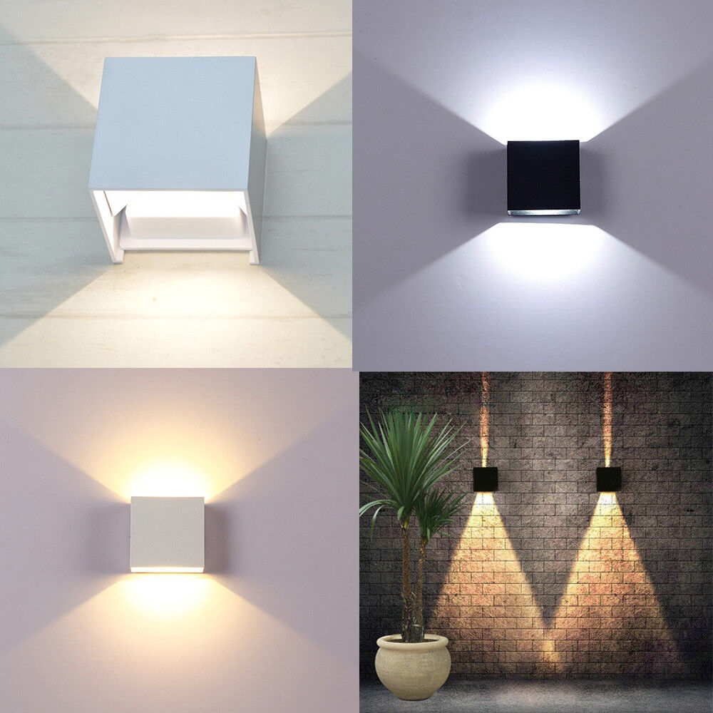 Details About 6 12w Modern Cube Led Wall Lamp Indoor Outdoor Bedroom Sconce Light Home Decor