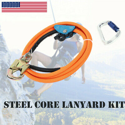 Climbing 12 X 10 Steel Core Lanyard Kit Flipline Swivel Snap Carabiner Orange