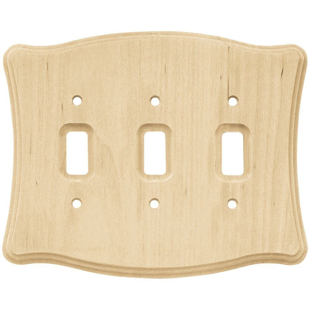Triple Toggle Wall Plate Wood Unfinished Franklin Brass 6464