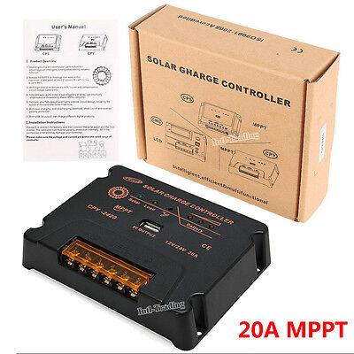 MPPT Solar Charge Controller 20A 12V/24V PV Solar Panel Battery Regulator W/ USB ()