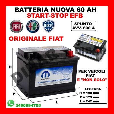 BATTERIA START-STOP 60AH NUOVA ORIGINALE FIAT MOPAR 600A SPUNTO EFB-HEAVY DUTY 1