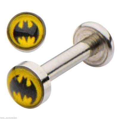 16 Gauge Steel Labret Stud - Labret/Chin Stud w/Batman DC Comics Logo 14 Gauge 5/16
