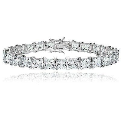 Sterling Silver Princess-cut Cubic  Zirconia 6x6mm Tennis Bracelet