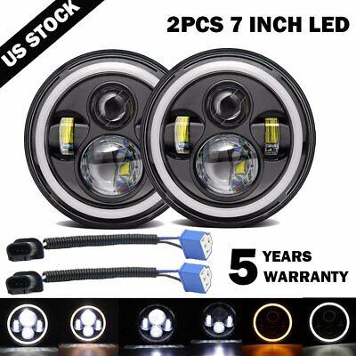 "Pair 7"" INCH 200W LED Headlights Halo Angle Eye For Jeep Wrangler CJ JK LJ 97-18"