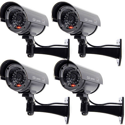 4 Stück Dummy Überwachungskamera Kameraatrappe CCTV Kamera IR Camera Attrappe